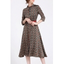 Retro Geometric Printed Collared 3/4 Length Sleeve Midi A-Line Dress