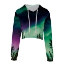 Digital Aurora Landscape Printed Long Sleeve Crop Hoodie