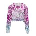 Fashion Digital Floral Printed Long Sleeve Leisure Crop Hoodie