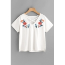 Unique Floral Embroidery Cross V Neck Short Sleeve Summer Casual Tee