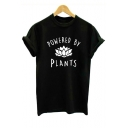 POWERED BY PLANTS Letter Floral Printed Round Neck Short Sleeve Unisex Tee