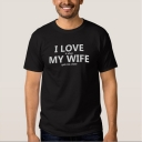 Comic I LOVE MY WIFE Letter Printed Round Neck Short Sleeve Tee