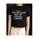 Simple Letter HAPPY GO LUCKY RAY OF SUNSHINE Print Crew Neck Short Sleeves Cropped Tee