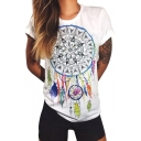 New Arrival Dreamcather Feather Printed Round Neck Short Sleeve Leisure Tee