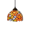Sunflower Pendant Light with Dome Glass Shade, Tiffany Style, 6/8-Inch, Multicolored