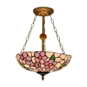 Inverted Pendant with Floral Glass Shade Tiffany Style Semi-Flush Mount Ceiling Fixture, Multi-Colored, 3 Light