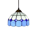 White & Green/Blue Dome Shaped Glass Shade Tiffany Simple Ceiling Pendant, 8