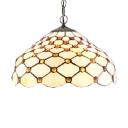 White Tiffany-Style Ceiling Pendant Fixture 12-Inch Glass Shade in Dome Shaped