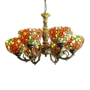 Tiffany Orange Sunflower Handmade Glass Shade Chandelier in Antique Brass Finish 3 Sizes for Option