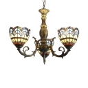 Baroque Tiffany Style 3-Light Inverted Stained Glass Shade Chandelier in Antique Bronze