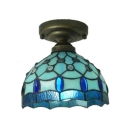 Blue Flush Mount Ceiling Light with Grid Pattern Embellished, Tiffany Style, 8