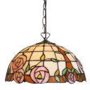 2-Light Pendant Light Tiffany  Rose Pattern Glass Shade in Multicolor Finish, 16-Inch Wide