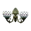 Tiffany-Style 2 Light Double Wall Sconce Down Lighting with Glass Shade 16
