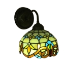 Vintage Tiffany Downward Bowl Design Wall Sconce with Blue&Yellow Stained Glass Shade, 8