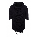 Braid Embellished Plain Short Sleeve Hooded Tee
