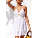 Halter Sleeveless Crochet Embellished Hollow Out Back Mini A-Line Dress