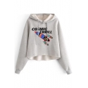 Letter Rocket Printed Long Sleeve Crop Hoodie