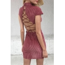Top Design Ribbed Fabric Lace-up Back Cap Sleeve Plain Mini Bodycon Dress