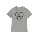 CAT MOM Letter Print Heart Print Short Sleeve Graphic Tee