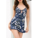 Summer Collection Floral Print Cross Back Hollow Out Detail Ruffle Hem Romper