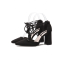 New Arrival Strappy Design Ankle Tied Tassel Detail High Heel Pointed Shoes