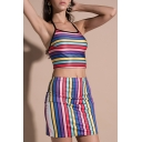 Colorful Rainbow Striped Pattern Cropped Cami with Mini Fancy Skirt