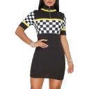 Retro Fashion Plaids Pattern High Neck Zip Detail Short Sleeve Mini Bodycon Dress