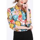 Office Lady Floral Printed Lapel Collar Long Sleeve Buttons Down Shirt