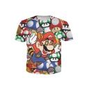 Popular Cartoon Mushroom Game Print Round Neck Short Sleeves Casual T-shirt