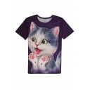 Digital Cute Cat Printed Round Neck Short Sleeve Unisex Tee