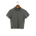 High Neck Short Sleeve Buttons Embellished Side Plain Crop Tee