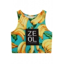 Unique Banana Letter ZEOL Print Sleeveless Cropped Summer Tank Top