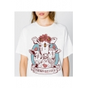 Floral Goat Letter Printed Round Neck Short Sleeve Comfort Tee
