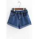Summer Collection Chic Plain Roll Cuff Hot Pants Denim Shorts