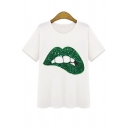 Top Design Green Mouth Lips Print Sequined Detail Short Sleeve Round Neck Leisure Tee