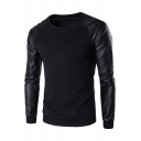 Simple Leather Patchwork Color Block Round Neck Long Sleeves Autumn Tee