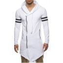 Cool Men's Style MISSION Letter Number Print Zip Up Striped Hooded Tee
