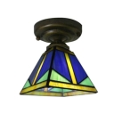Vintage Art Down Lighting Semi Flush Ceiling Fixture with 6