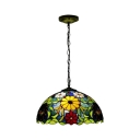 Tiffany Style 2-Light Pendant Light with 16-Inch Wide Floral Dome Glass Shade in Multicolored Finish