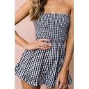 Fashionable Gingham Plaids Print Strapless Ruffle Hem Summer Romper