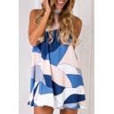 Color Block Halter Neck Sleeveless Keyhole Back Mini Cami Dress