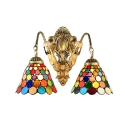 Vintage Art Tiffany 2-Light Wall Sconce with Colorful Round Dot Glass Shade, 16