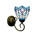 Nautical Wall Sconce Up Lighting with 6''W Bowl Pattern Glass Shade in Blue