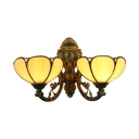 Tiffany-Style Stained Glass Lotus Floral Shade Wall Sconce in Bronze Finish