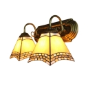 Tiffany-Style Two Light Wall Sconce in Vintage Design with Stained Glass Shade in Yellow