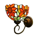 Sunflowers Tiffany Pattern Bowl Design with Multicolor Glass Shade Wall Sconce, 7
