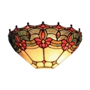 Tiffany Style Floral Multi-colors Hallway Wall Sconce,12 Inch
