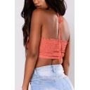Sexy Pleated Halter Hollow Out Sleeveless Crop Cami