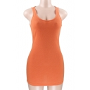 Basic Plain Sleeveless Ribbed Slim Mini Bodycon Dress