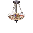 Hollowed-Out Floral Theme Inverted Ceiling Light Tiffany Style Colorful Stained Glass Semi Flush Mount Light